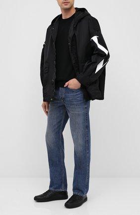 Мужские кожаные кеды TOM FORD черного цвета, арт. J1232N-LCL074 | Фото 2