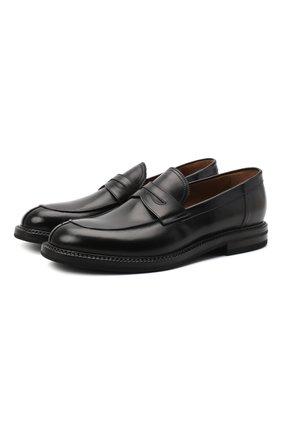 Мужские кожаные пенни-лоферы W.GIBBS черного цвета, арт. 0105001/2243 | Фото 1
