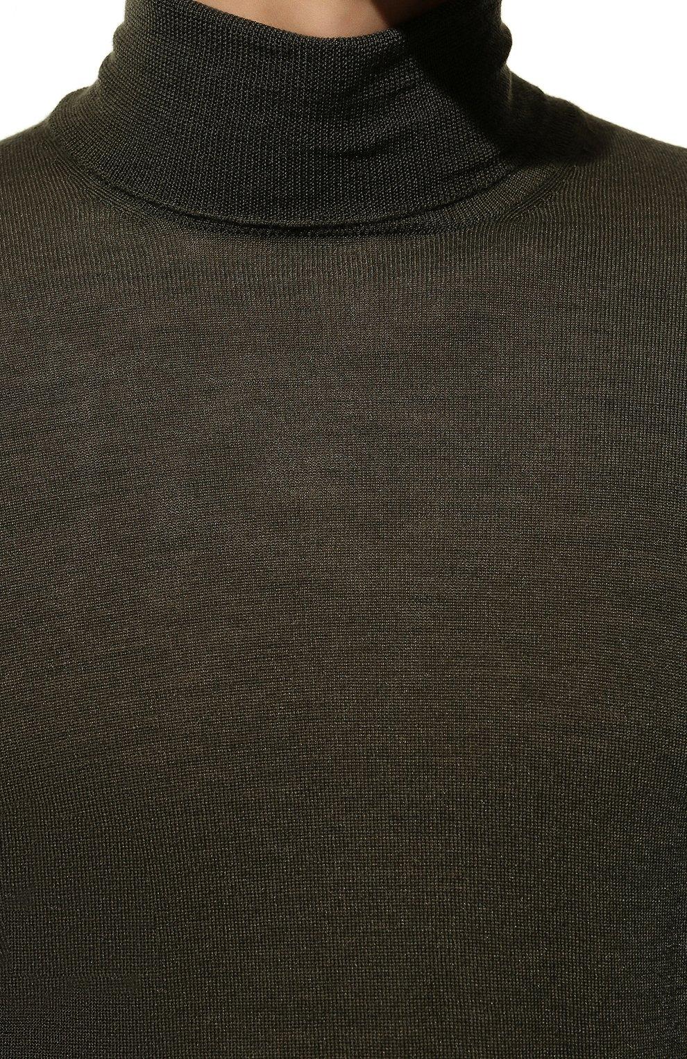 Мужской водолазка из шерсти и шелка GRAN SASSO темно-зеленого цвета, арт. 57131/13190   Фото 5 (Материал внешний: Шерсть, Шелк; Рукава: Длинные; Принт: Без принта; Длина (для топов): Стандартные; Мужское Кросс-КТ: Водолазка-одежда)