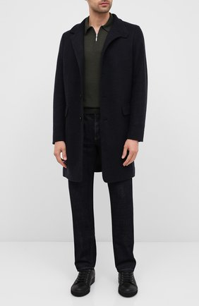 Мужское поло из шерсти и шелка GRAN SASSO темно-зеленого цвета, арт. 57137/13190 | Фото 2