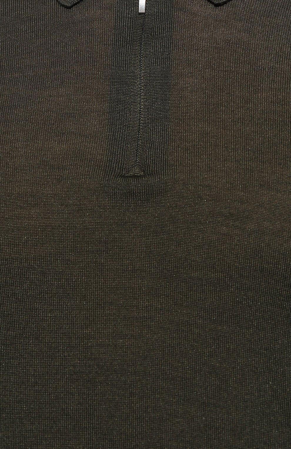 Мужское поло из шерсти и шелка GRAN SASSO темно-зеленого цвета, арт. 57137/13190   Фото 5 (Материал внешний: Шерсть, Шелк; Застежка: Молния; Рукава: Длинные; Длина (для топов): Стандартные; Кросс-КТ: Трикотаж)