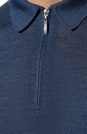 Мужское поло из шерсти и шелка GRAN SASSO голубого цвета, арт. 57137/13190 | Фото 5 (Материал внешний: Шерсть, Шелк; Застежка: Молния; Рукава: Длинные; Длина (для топов): Стандартные; Кросс-КТ: Трикотаж)