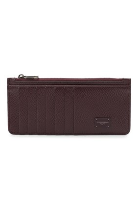 Мужской кожаный футляр для кредитных карт DOLCE & GABBANA бордового цвета, арт. BP2172/AZ602 | Фото 1
