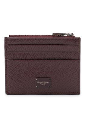 Мужской кожаный футляр для кредитных карт DOLCE & GABBANA бордового цвета, арт. BP2266/AZ602 | Фото 1