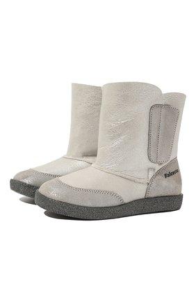 Детские утепленные сапоги из кожи FALCOTTO серебряного цвета, арт. 0013001281/02   Фото 1 (Кросс-КТ: полусапоги; Материал утеплителя: Натуральный мех)
