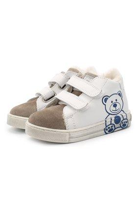 Детские кожаные кеды FALCOTTO белого цвета, арт. 0012015333/21 | Фото 1