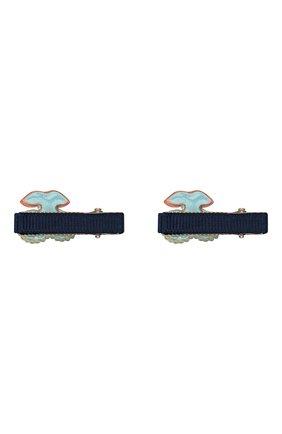 Детская комплект из двух заколок shiny cherry JUNEFEE синего цвета, арт. 6252 | Фото 2