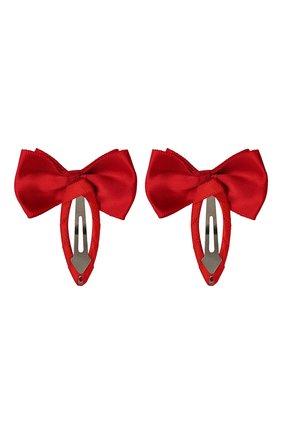 Детская комплект из двух заколок twin bow JUNEFEE красного цвета, арт. 5739 | Фото 2