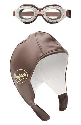 Детского комплект из шлем и очков BAGHERA коричневого цвета, арт. 32004 | Фото 1