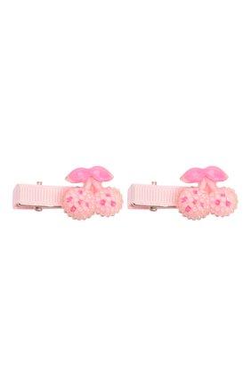Детская комплект из двух заколок shiny cherry JUNEFEE розового цвета, арт. 5198 | Фото 1