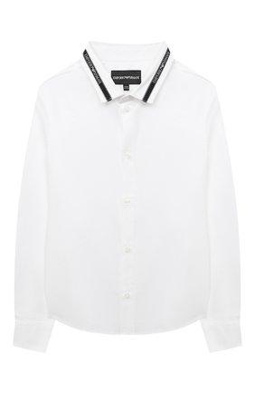 Детская хлопковая рубашка EMPORIO ARMANI белого цвета, арт. 6H4CA6/1NXYZ   Фото 1