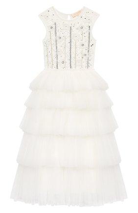 Детское хлопковое платье TUTU DU MONDE белого цвета, арт. TDM5198/4-11   Фото 1