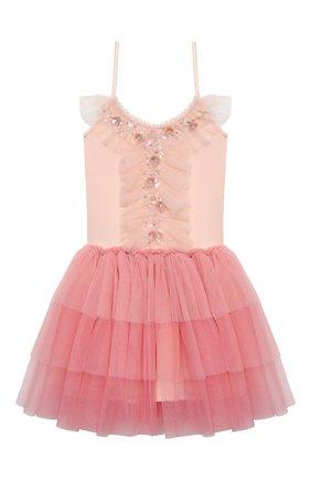 Детское хлопковое платье TUTU DU MONDE кораллового цвета, арт. TDM5199/4-11   Фото 1