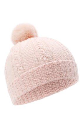 Детского кашемировая шапка с меховым помпоном LORO PIANA светло-розового цвета, арт. FAI7330 | Фото 1