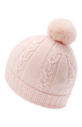 Детского кашемировая шапка с меховым помпоном LORO PIANA светло-розового цвета, арт. FAI7330 | Фото 2