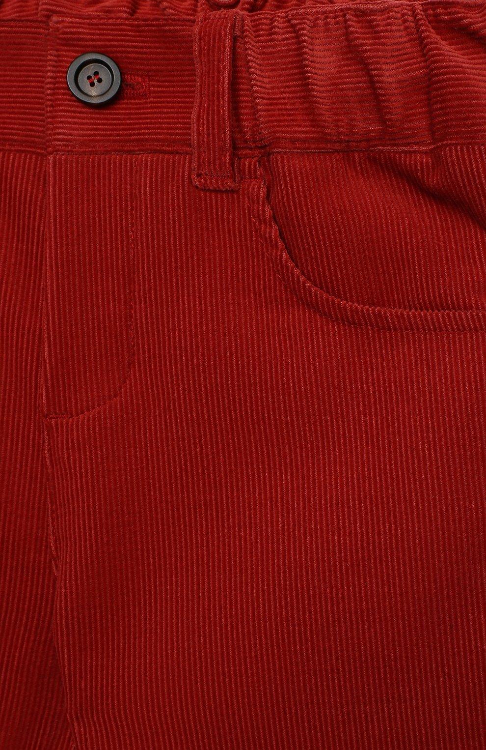 Детские хлопковые брюки LORO PIANA красного цвета, арт. FAL3473 | Фото 3