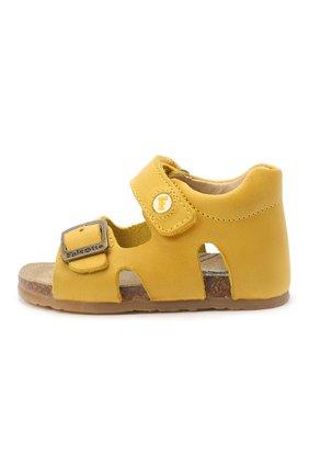 Детские кожаные сандалии FALCOTTO желтого цвета, арт. 0011500737/01 | Фото 2