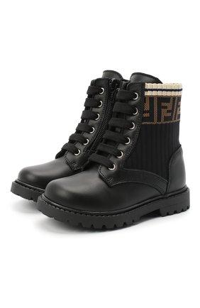 Детские кожаные ботинки FENDI черного цвета, арт. JMR330/A8CU/20-26 | Фото 1
