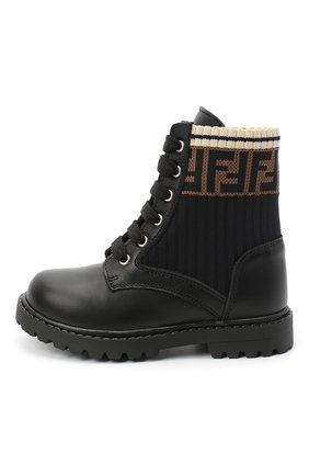 Детские кожаные ботинки FENDI черного цвета, арт. JMR330/A8CU/20-26 | Фото 2