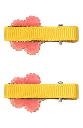 Детская комплект из двух заколок shiny flower JUNEFEE желтого цвета, арт. 6255 | Фото 2