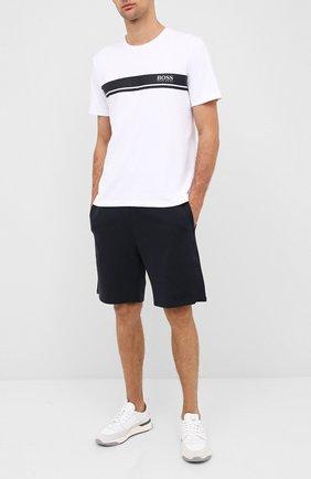 Мужские хлопковые шорты BOSS синего цвета, арт. 50431112 | Фото 2