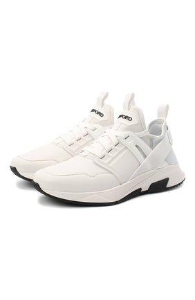 Мужские кожаные кроссовки TOM FORD белого цвета, арт. J1212T-LNL004 | Фото 1