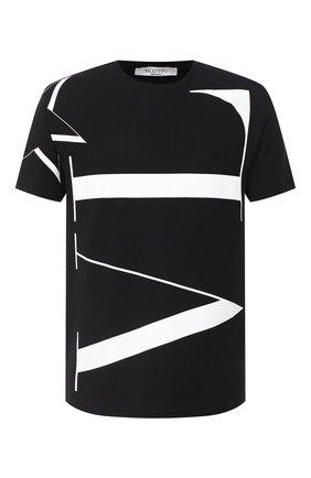 Мужская хлопковая футболка VALENTINO черно-белого цвета, арт. UV3MG04W6LV | Фото 1