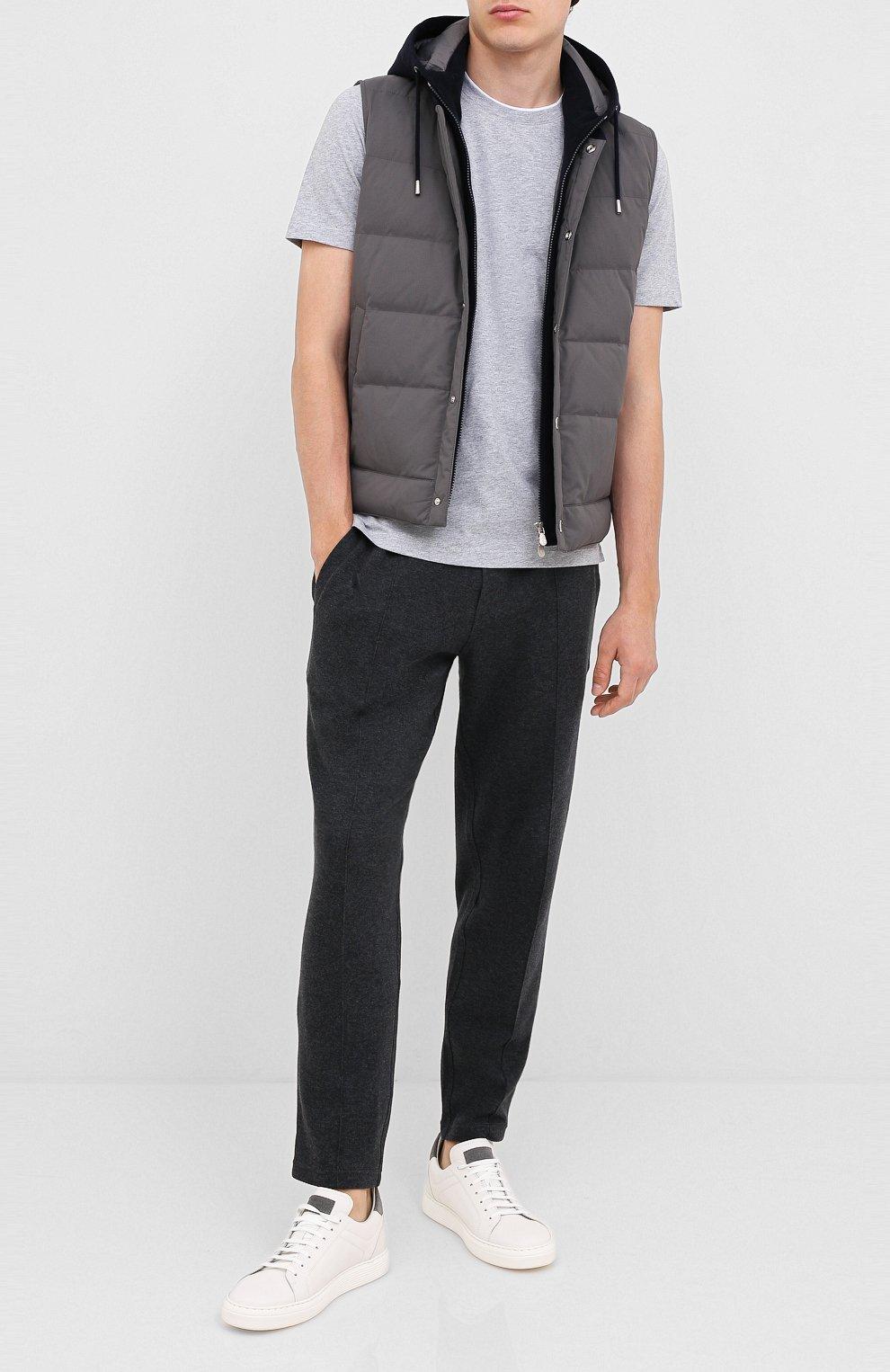 Мужские кожаные кеды BRUNELLO CUCINELLI серого цвета, арт. MZUBTSJ233 | Фото 2