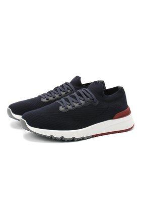 Мужские текстильные кроссовки BRUNELLO CUCINELLI темно-синего цвета, арт. MZUPMB0252 | Фото 1