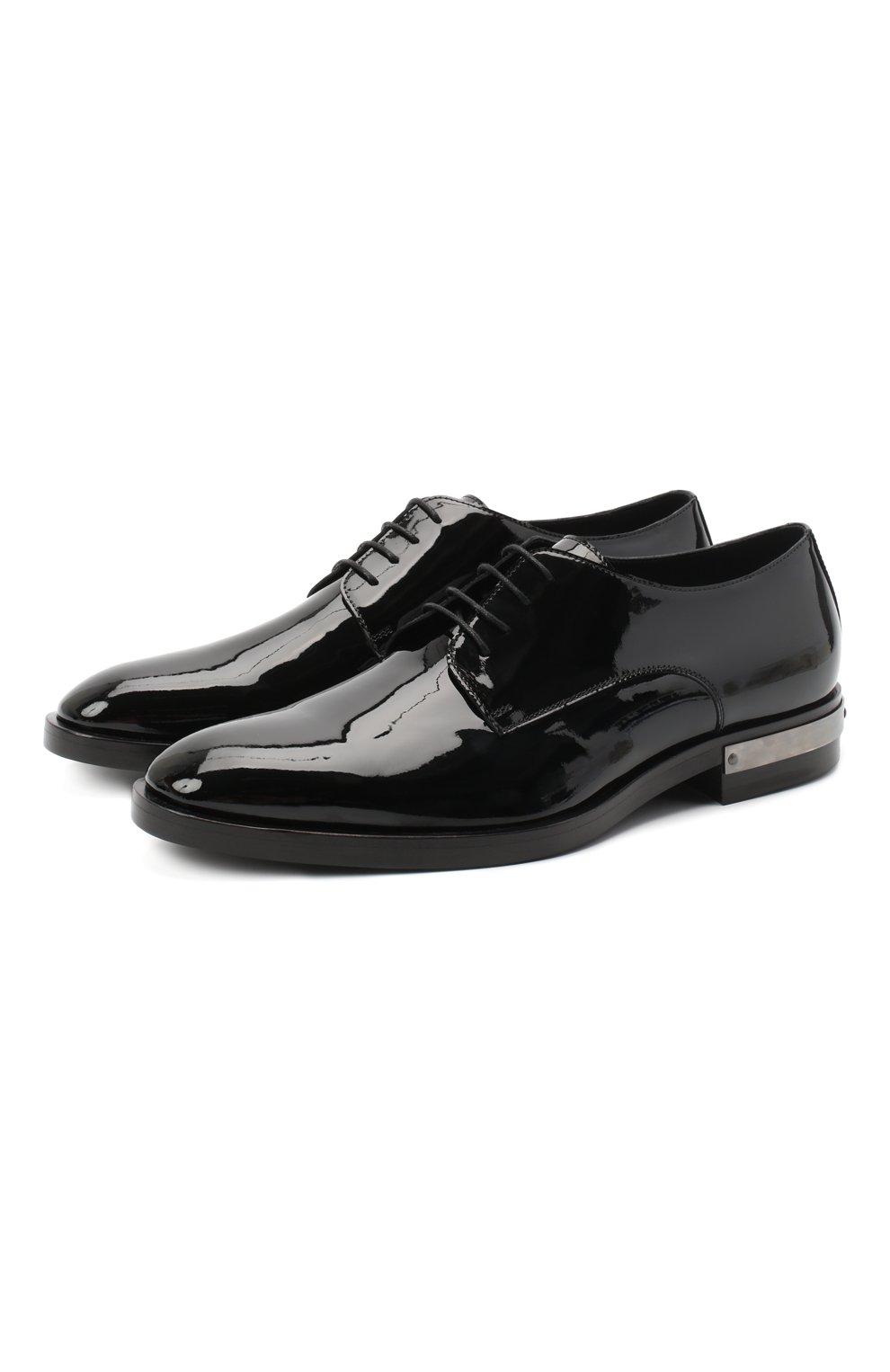 Мужские кожаные дерби BALMAIN черного цвета, арт. UM1C185/LVRE   Фото 1 (Материал внутренний: Натуральная кожа; Стили: Классический)