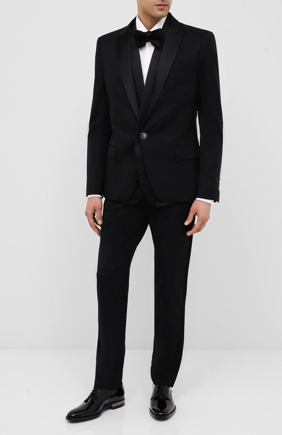 Мужские кожаные дерби BALMAIN черного цвета, арт. UM1C185/LVRE   Фото 2 (Материал внутренний: Натуральная кожа; Стили: Классический)