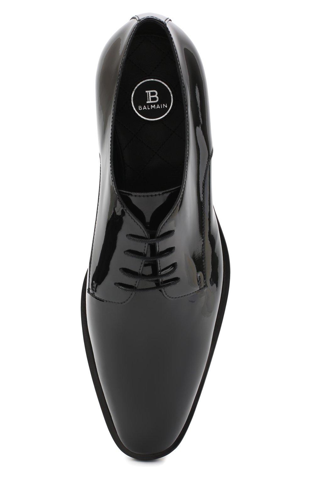 Мужские кожаные дерби BALMAIN черного цвета, арт. UM1C185/LVRE   Фото 5 (Материал внутренний: Натуральная кожа; Стили: Классический)
