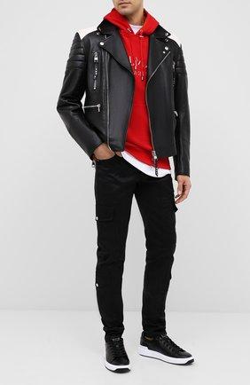 Мужские кожаные кеды b-court BALMAIN черного цвета, арт. UM1C226/LASC | Фото 2