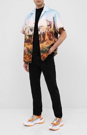 Мужская хлопковая рубашка PALM ANGELS разноцветного цвета, арт. PMGA075E20FAB0024010 | Фото 2