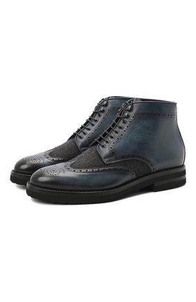 Мужские комбинированные ботинки W.GIBBS синего цвета, арт. 0128007/1910 | Фото 1