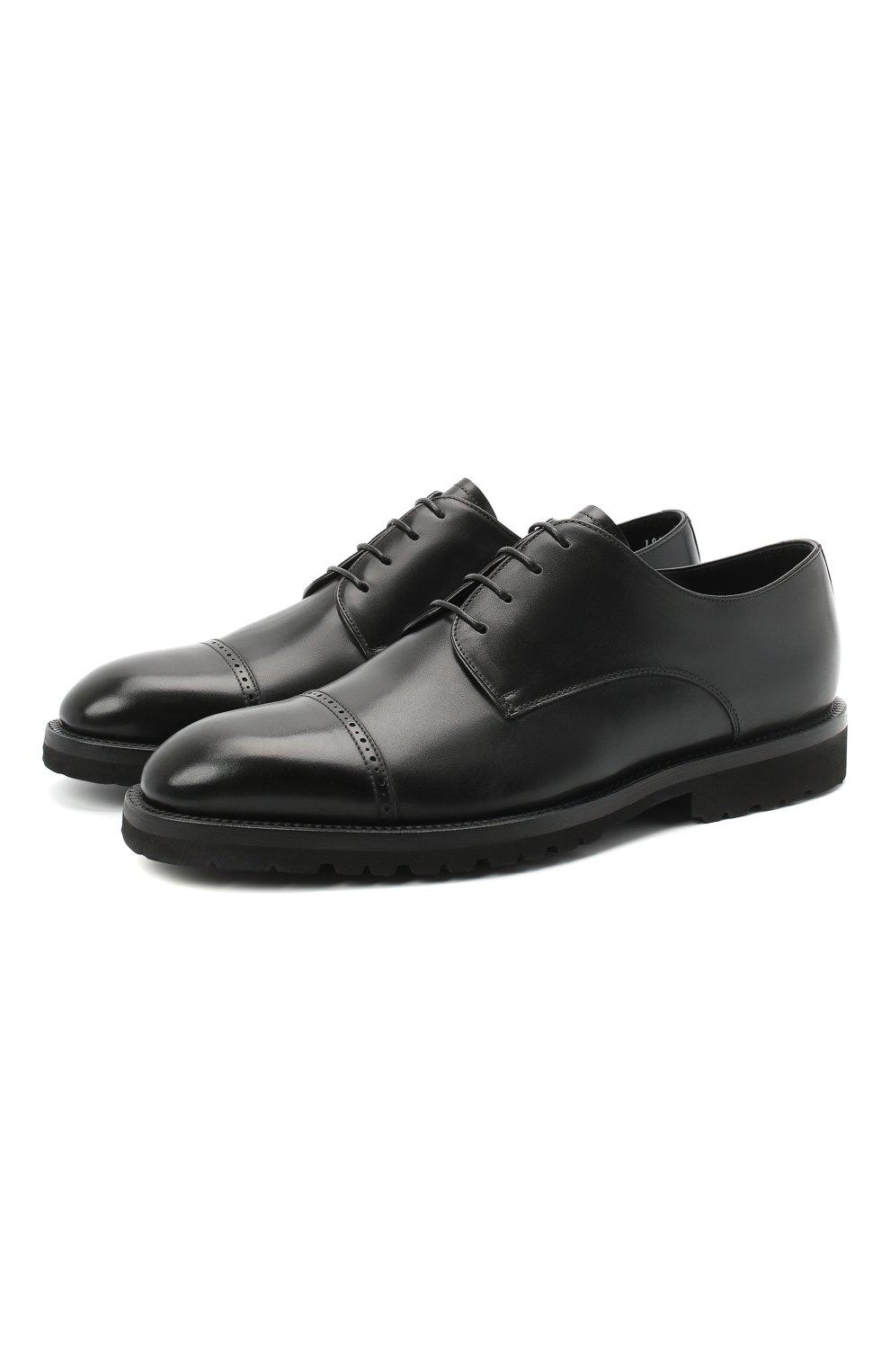 Мужские кожаные дерби BARRETT черного цвета, арт. 192U042.16/VITELL0 | Фото 1