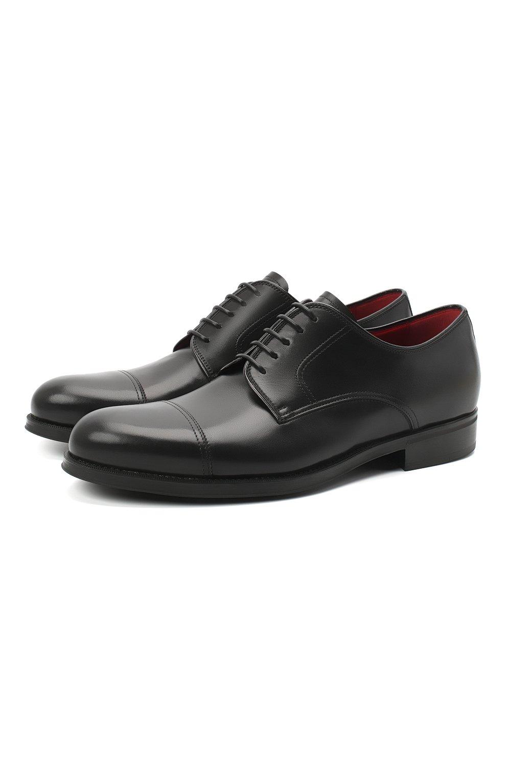 Мужские кожаные дерби BARRETT черного цвета, арт. 202U031.6/NEW B0X | Фото 1