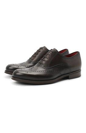 Мужские кожаные оксфорды BARRETT темно-коричневого цвета, арт. 202U034.7/NEW B0X | Фото 1