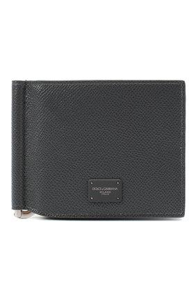 Мужской кожаный зажим для денег DOLCE & GABBANA серого цвета, арт. BP1920/AZ602 | Фото 1