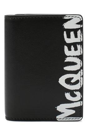 Мужской кожаный футляр для кредитных карт ALEXANDER MCQUEEN черно-белого цвета, арт. 625525/1NT0B | Фото 1
