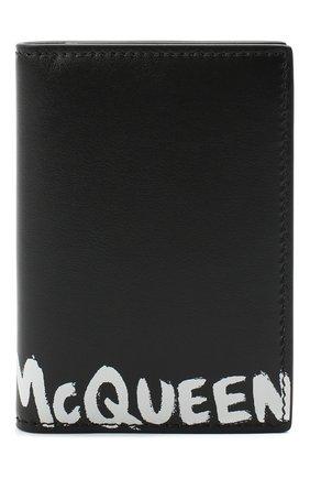 Мужской кожаный футляр для кредитных карт ALEXANDER MCQUEEN черно-белого цвета, арт. 625523/1NT0B | Фото 1