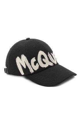 Мужской текстильная бейсболка ALEXANDER MCQUEEN черно-белого цвета, арт. 624392/4C60Q | Фото 1 (Материал: Хлопок, Текстиль)
