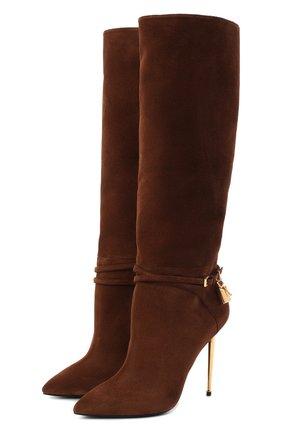 Женские замшевые сапоги TOM FORD коричневого цвета, арт. W2529T-LCL071 | Фото 1