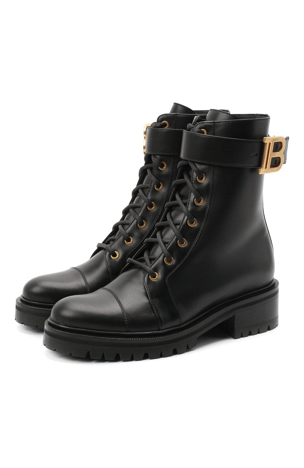 Женские кожаные ботинки ranger BALMAIN черного цвета, арт. UN1C502/LGDB   Фото 1