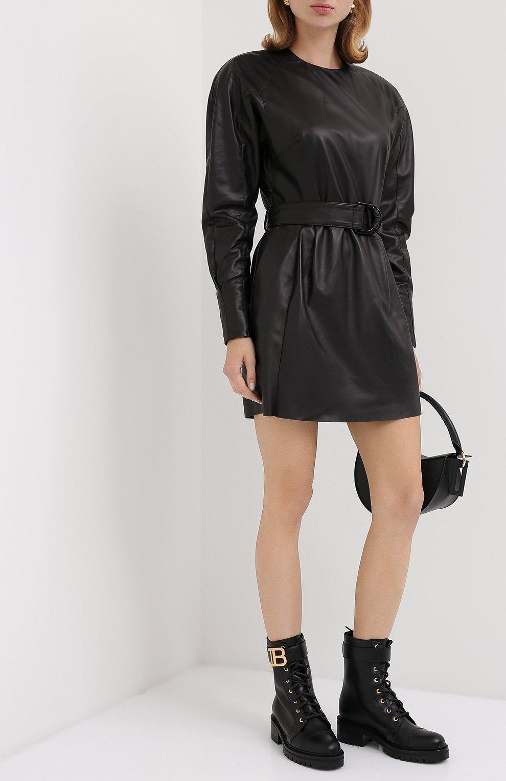 Женские кожаные ботинки ranger BALMAIN черного цвета, арт. UN1C502/LGDB   Фото 2