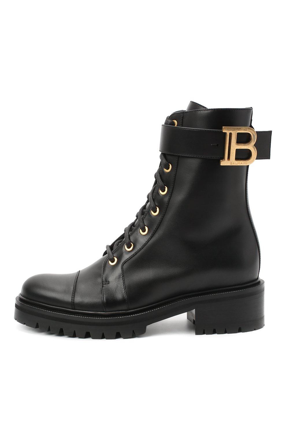 Женские кожаные ботинки ranger BALMAIN черного цвета, арт. UN1C502/LGDB   Фото 3