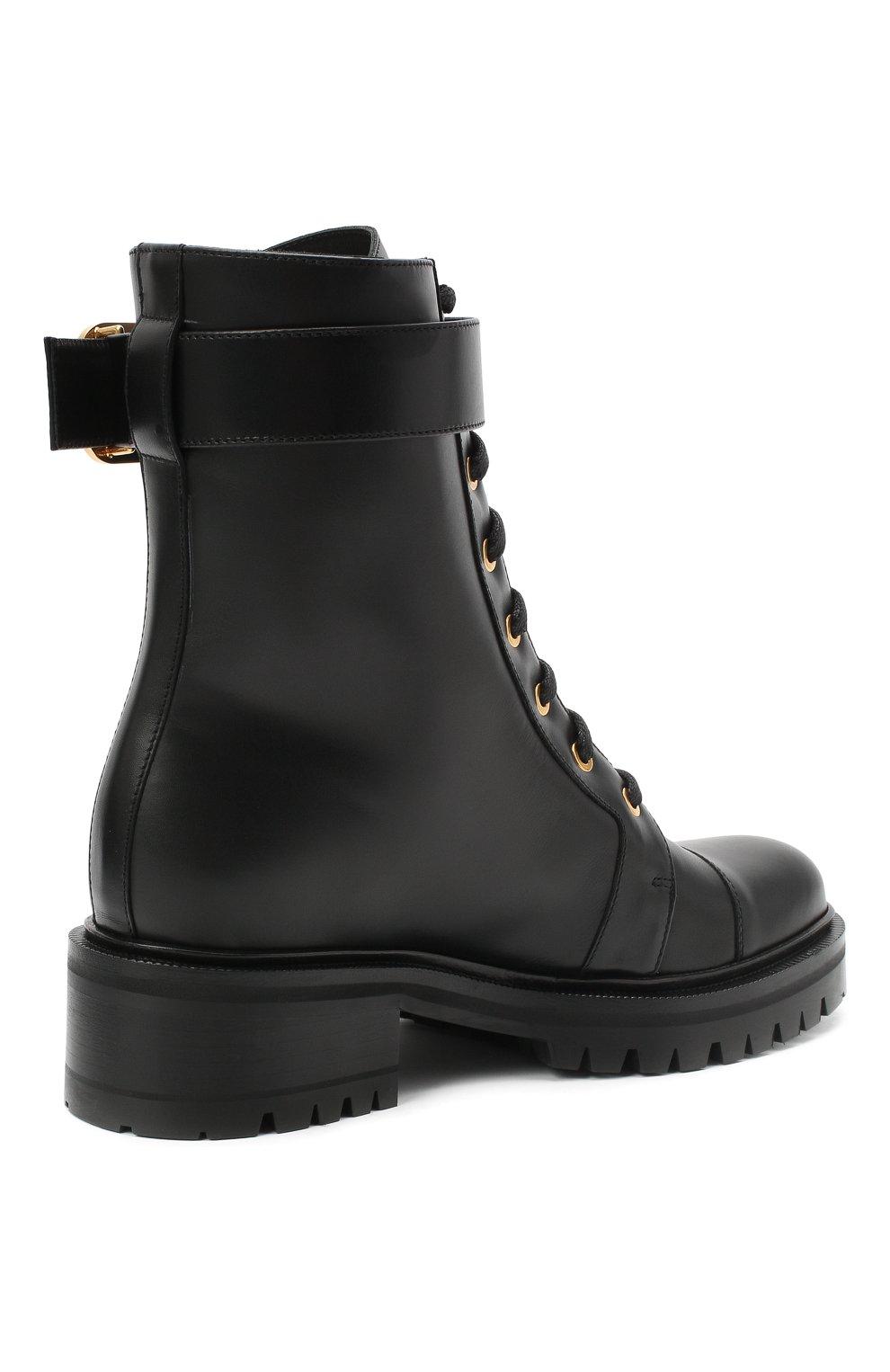 Женские кожаные ботинки ranger BALMAIN черного цвета, арт. UN1C502/LGDB   Фото 4