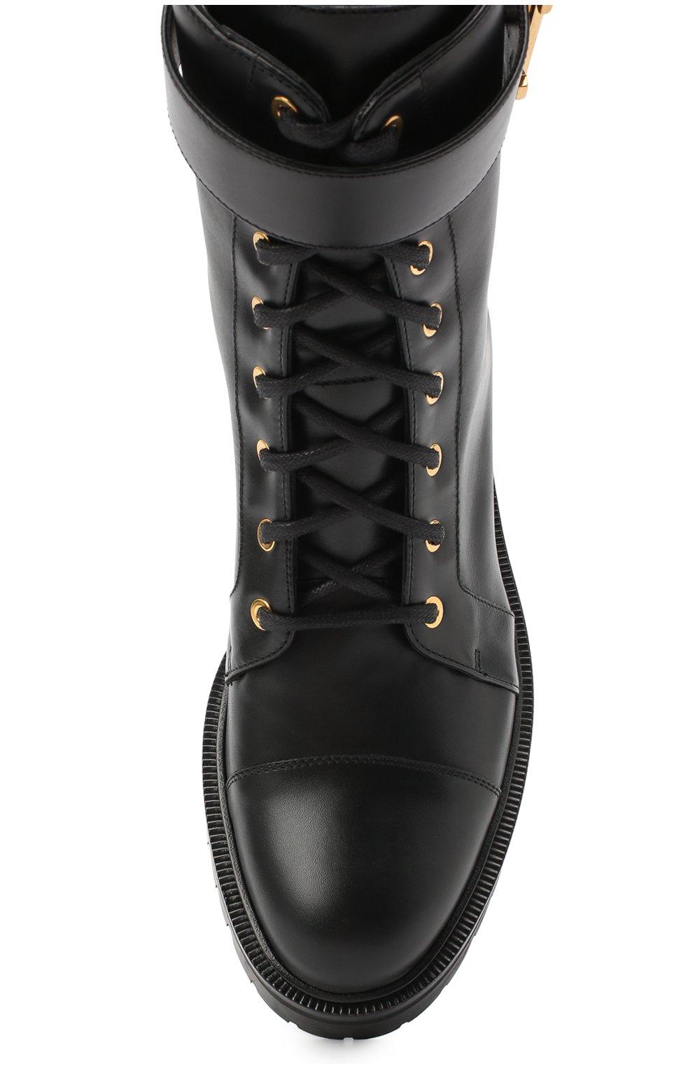Женские кожаные ботинки ranger BALMAIN черного цвета, арт. UN1C502/LGDB   Фото 5