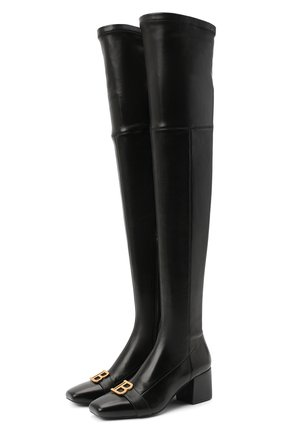 Женские кожаные ботфорты otk BALMAIN черного цвета, арт. UN1C514/LNSA | Фото 1