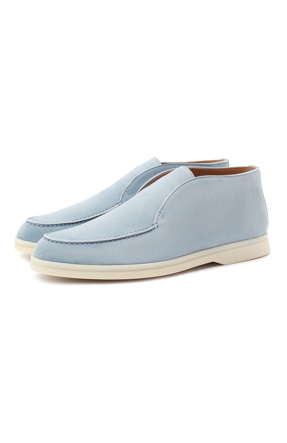 Женские замшевые ботинки open walk LORO PIANA голубого цвета, арт. FAE9959 | Фото 1